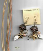 BEACH TASSEL Ears - Matched Natural Arkansas Rock Crystals, Antiqued Findings, Real Shells, Metallicized Leather
