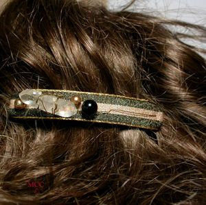 BLACKSTRIPE - Large Barrette of Arkansas Rock Crystal, Black Onyx, Black Beige Gold