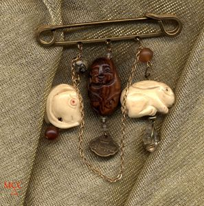 CHARMED LIFE with Rabbits - Pin of Arkansas Rock Crystal, Carved Mali Wood and Bone, Smoky Topaz, Leopardskin Jasper, Horn