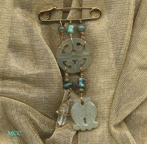CHARMED LIFE With Twin Fish - Pin of Arkansas Rock Crystal, Carved Jade Fishes and Chou, Turquoise, Fancy Jasper