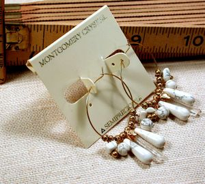 CONVERTIBLE HOOPS - Earrings of Matched Natural Arkansas Rock Crystals, White and Grey Howlite, RGP