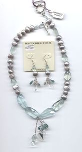 DEAR HEART - Collar Necklace of  Natural Arkansas Rock Crystal, Hand-Cut Aquamarine, Fancy Cut Fluorite, Silvery Freshwater Pearls