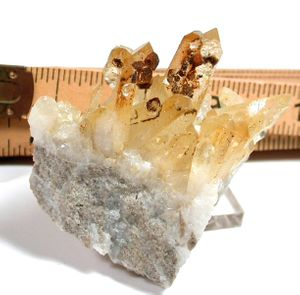 Dodecahedral Quartz After Pyrite Pseudomorphs, Large Miniature Golden Arkansas Cluster