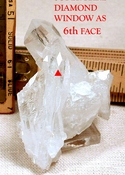 Extra Rare Diamond Window as Sixth Face, Arkansas Quartz Cluster