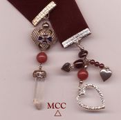 ILLUMINATOR: Bookmark/Pendulum - Sterling Filigree, Enamel, Lovely Rock Crystal, Merlot Velvet