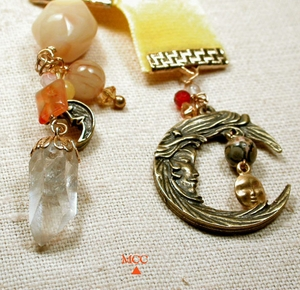 ILLUMINATOR - Harvest Moon Bookmark/Pendulum with Arkansas Rock Crystal, Yellow Opal, Yellow Agate, Antique Soochow Jade, Carnelian, Leopardskin Jasper and Marigold Yellow Velvet