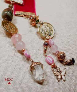 ILLUMINATOR tm - Rose Goddesses Bookmark/Pendulum with Arkansas Rock Crystal, Premium Rose Quartz, Tourmaline, Pearls and Rhodochrosite