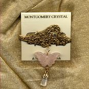 LACE WING Brooch - Arkanssas Rock Crystal With Rose Quartz Butterfly