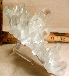 SOLD: Large Arkansas Quartz Cluster: Nine-Faced Rarity, Diamond Windows