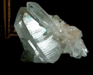 Large Clear Arkansas Quartz Cluster,  Naturally Iridescent Tabular Crystals