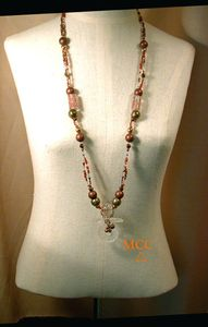 "MAYFLOWER - 37"" Long Necklace of Natural Rare Arkansas Dogtooth and Carved Rock Crystal, Copper in Glass Beads, Copper and Glass Beads"