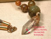 MINETTE Necklace - Special Diamond Window Crystal, Antique Soochow Jade, Fluorite Beads, Taupe Suede