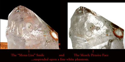 Mona Lisa Smile - A Face in an Arkansas Rock Crystal var. White Phantom; Green, Tan, White Chlorite Inclusions