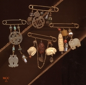 Montgomery Crystal Co's Rock Crystal Brooches, Some Pins with Other Semiprecious Beads and Stones
