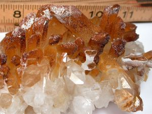 Orange and Clear Occluded Drusy Coated Arkansas Quartz Plate