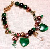 PARTI Bracelet - Arkansas Rock Crystal, Malachite, Copper Pearls, Facetted Smoky Quartz, Green Tourmalines