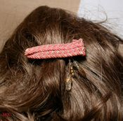 PINK GOLD CHEVRON Tapestry Twill - French Clip with Golden and Arkansas Natural Crystal Tassel