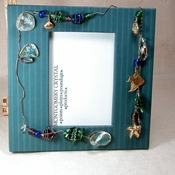 PRIZE CATCH - Handmade Jewelled Picture Frame With DETATCHABLE BRACELET - Natural Arkansas Rock Crystals, Rainbow Fluorite, Glass Fishies, Teal Pinstriped Papers