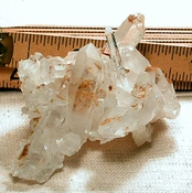 Rare Tan Chlorite Phantoms, White Titanium Tips - Arkansas Quartz Cluster