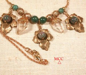 SACANDAGA Necklace - Natural Arkansas Quartz Crystals, Fancy Jasper, Antiqued Brass Beads and Leaves, 14k Goldfill Chain