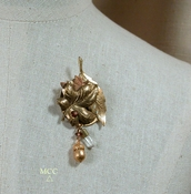 SENECA Brooch -  Natural Arkansas Rock Crystal, Swarovski Topaz Glass Crystal, Brass and Copper Leaves and Acorn Charm