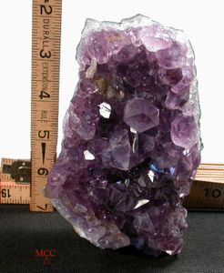 SOLD: Very Clear Amethyst Quartz Cluster WITH Goethite, Smoky Quartz, and TINY Calcite Dribble, Rainbows