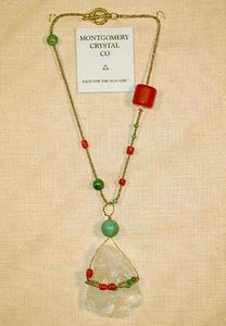 SUSANS 171 - Choker Necklace of One of Kind Arkansas Natural Rock Crystal, Coral [Antique Pre-Embargo], Turquoise, Copal, Delica Beads