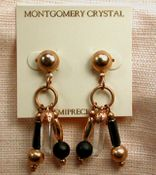 SWING - Posted Earrings of Matched Natural Arkansas Rock Crystals, Matte Black Onyx and Hematite