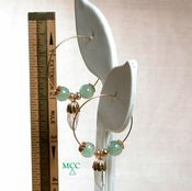 TAYLOR HOOP Earrings - Paired Natural Arkansas Rock Crystals, Green Aventurine, Rolled Goldplate Metals