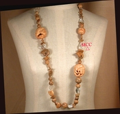 THE NATURAL - Long Necklace of Carved Bone, Rock Crystal Beads, Picture Jasper Fetish Animal and Shaped Beads