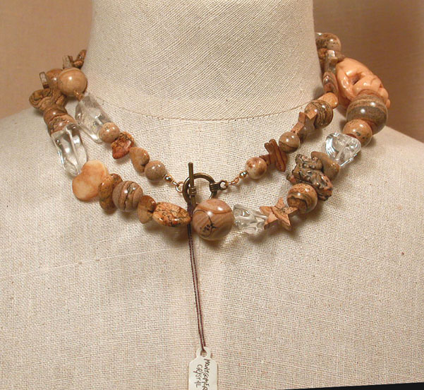 The Natural Long Necklace Of Carved Bone Rock Crystal Beads Picture Jasper Fetish Animal And Shaped