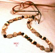 TIGER TIGER Peeper Keeper Convertible Necklace - Tiger Eye, Cocoa Antique Soochow Jade, Horn, Carved Bone Basketweave Beading
