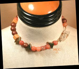 TRIANGLE Choker - Arkansas Iron-Included Rock Crystal, Red Aventurine, Brass Triangle Beads, Handmade Ceramic Beads