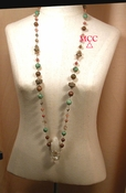 TURQ, Long - Very Long Rosary Link Necklace of Natural Arkansas Rock crystal, Smoky Quartz, Antique Soochow Jade, Red Jade, African Turquoise and Antiqued Sterling and Fine Silver Beads