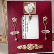 VICTORIAN FLORAL - Handmade Jewelled Picture Frame with Arkansas Natural Rock Crystals and Cluster, Lampwork Rose Beads, 18k Goldplate and Brass Charms, Swarovski Rhinestones