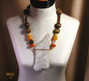 WOW Necklace - Large Arkansas Natural Rock Crystal, Antique Chocolate Soochow Jade, Copal, Botswana Agate