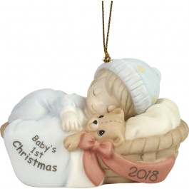 """Baby's First Christmas 2018"" Bisque Porcelain Ornament, Boy"