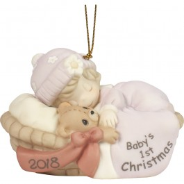 """Baby's First Christmas 2018"" Bisque Porcelain Ornament, Girl"