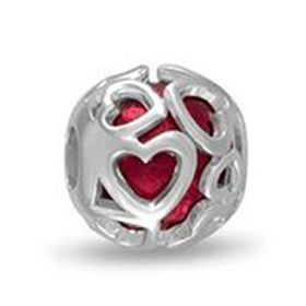 Davinci Beads Red Hearts Cut Out