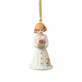 Growing up Girl Blonde Age 05 New Baby Ornament