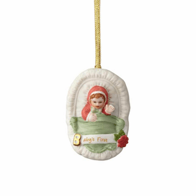 Growing up Girl Brunette Age 0 New Baby Ornament