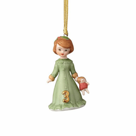 Growing up Girl Brunette Age 03 Ornament