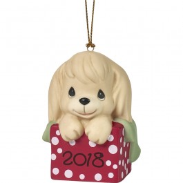 """""""Have A Paw-fect Christmas"""" Dated 2018, Bisque Porcelain Ornament, Dog"""