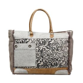 Myra Bag - Hide & Floral Print Weekend Bag