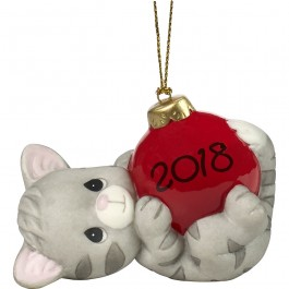 """May Your Holiday's Be Purr-fect"" Dated 2018, Bisque Porcelain Ornament, Cat"
