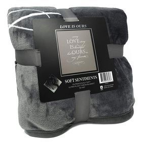 Outrageously Soft Love Is Ours Blanket- Dark Gray
