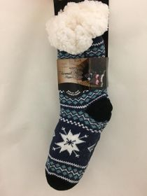 Snowflake Sherpa Thermal Knit Slipper Socks Blue and Black
