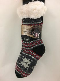 Snowflake Sherpa Thermal Knit Slipper Socks Gray and Black