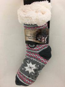 Snowflake Sherpa Thermal Knit Slipper Socks Pink and Dark Gray