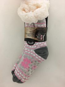 Snowflake Sherpa Thermal Knit Slipper Socks Pink and Light Gray